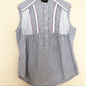 Lane Bryant Striped Sleeveless Pullover Blouse